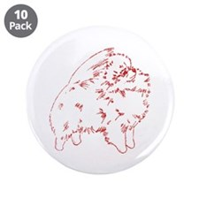 """Pom Outline Red 3.5"""" Button (10 pack)"""
