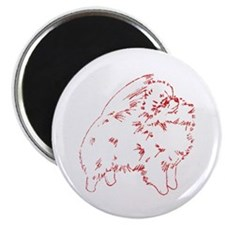 Pom Outline Red Magnet