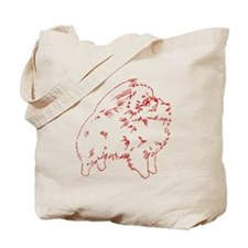 Pom Outline Red Tote Bag