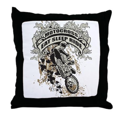 Eat, Sleep, Ride Motocross Throw Pillow