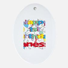 Vanessa's 1st Birthday Oval Ornament