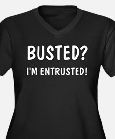 """Busted?"" Women's Plus Size V-Neck Dark T-Shirt"