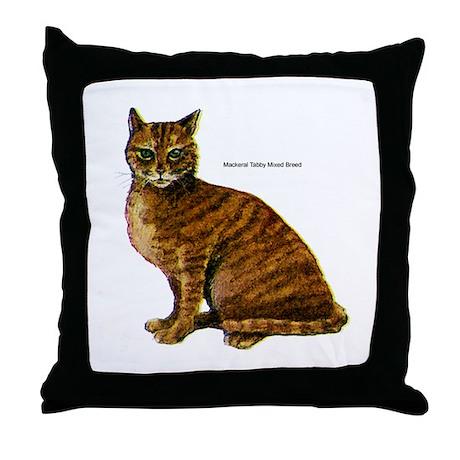 Mackerel Tabby Cat Throw Pillow