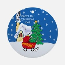 08 Flamed Stroller 1st Christmas Ornament (Round)