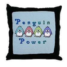 Penguin Power Throw Pillow