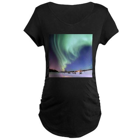 Aurora Borealis Maternity Dark T-Shirt