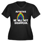 Autistics: Not Disappear Women's Plus Size V-Neck