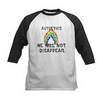 Autistics: Not Disappear Kids Baseball Jersey