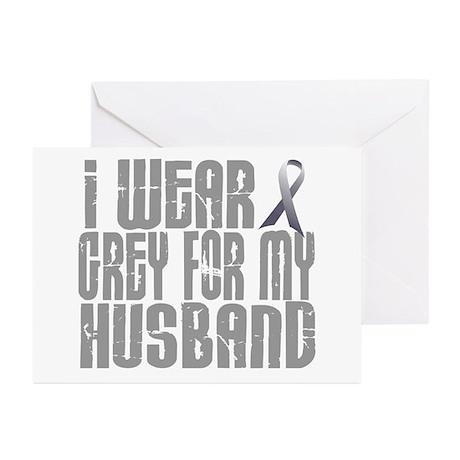 I Wear Grey For My Husband 16 Greeting Cards (Pk o