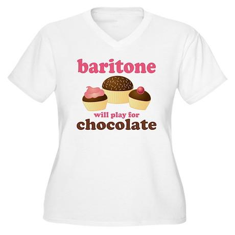 Funny Baritone Women's Plus Size V-Neck T-Shirt