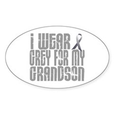 I Wear Grey For My Grandson 16 Oval Decal