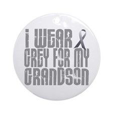 I Wear Grey For My Grandson 16 Ornament (Round)