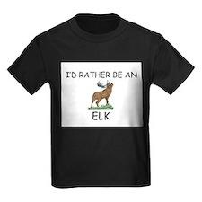 I'd Rather Be An Elk Kids Dark T-Shirt