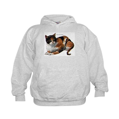 Calico Cat (Front) Kids Hoodie