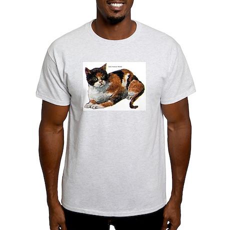 Calico Cat (Front) Ash Grey T-Shirt