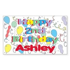 Ashley's 2nd Birthday Rectangle Decal