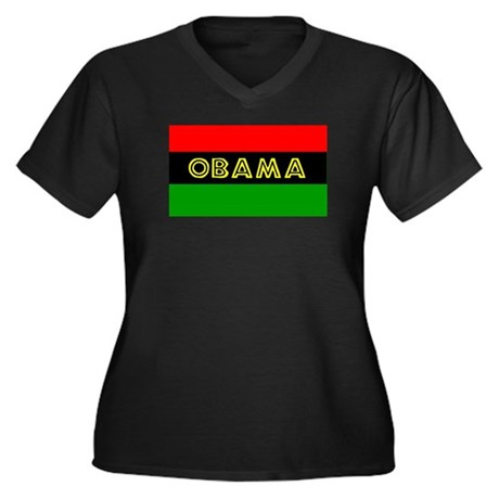 Obama African American Flag Women's Plus Size V-Ne