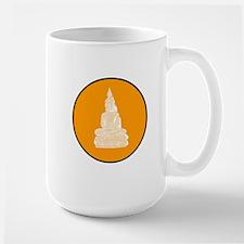 Orange Floating Buddha Circle Large Mug