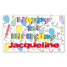 Jacqueline's 1st Birthday Rectangle Decal