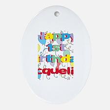 Jacqueline's 1st Birthday Oval Ornament