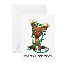Merry Christmas (Reindeer) Greeting Cards (Pk of 2