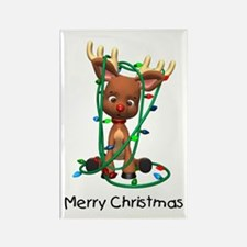 Merry Christmas (Reindeer) Rectangle Magnet