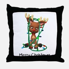 Merry Christmas (Reindeer) Throw Pillow