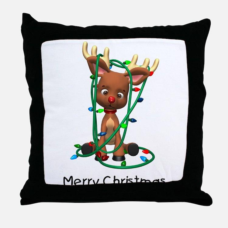 Merry Christmas (Reindeer) Throw Pillow