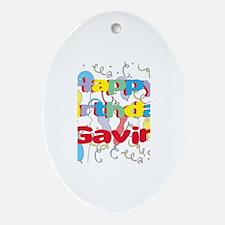 Happy Birthday Gavin Oval Ornament