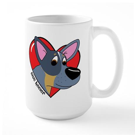 Cartoon Blue Heeler Love Large Mug