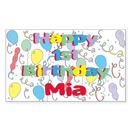 Mia's 1st Birthday Rectangle Sticker