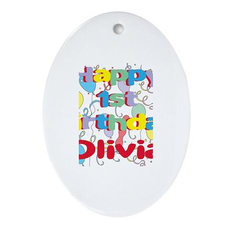 Olivia's 1st Birthday Oval Ornament