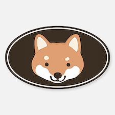 Shiba Inu Face Oval Bumper Stickers