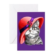 Red Hat Cat Greeting Card