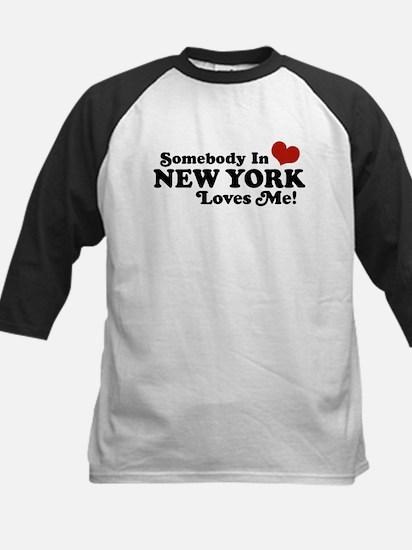 Somebody in New York Loves Me Kids Baseball Jersey