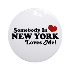 Somebody in New York Loves Me Ornament (Round)