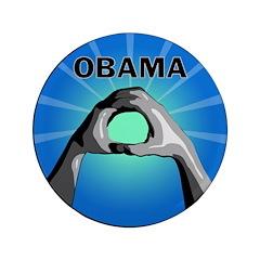 """Obama Salute 3.5"""" Button"""