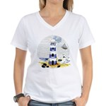Mystic Lighthouse Women's V-Neck T-Shirt