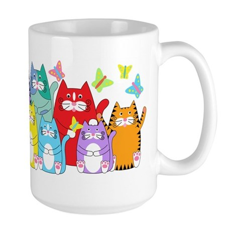 Colorful Kitty Cats & Butterflies Large Mug