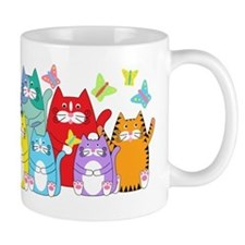 Colorful Kitty Cats & Butterflies Small Mugs