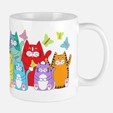 Colorful Kitty Cats & Butterflies Small Small Mug