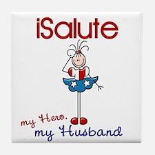 I Salute My Husband 1 Tile Coaster