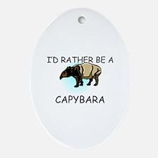 I'd Rather Be A Capybara Oval Ornament