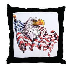 Eagle & Old Glory Throw Pillow