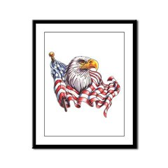 Eagle & Old Glory Framed Panel Print