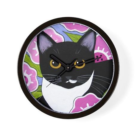 SASSY Black and White Tuxedo CAT Wall Clock