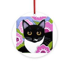 SASSY Black White Tuxedo CAT Ornament (Round)