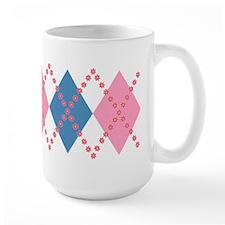 Cute Pink Blue Argyle Mug