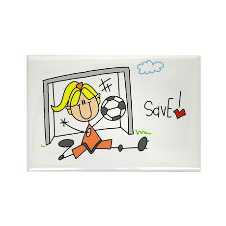 Girl Soccer Goalie Rectangle Magnet (100 pack)