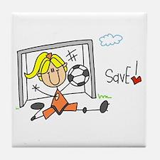 Girl Soccer Goalie Tile Coaster